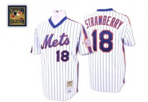 Men's Mitchell and Ness Darryl Strawberry New York Mets Authentic White/Blue Strip Throwback Jersey