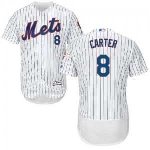 Men's Majestic Gary Carter New York Mets Authentic White Flexbase Collection Jersey