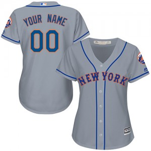 Women's Majestic Custom New York Mets Authentic Grey ized Road Cool Base Jersey