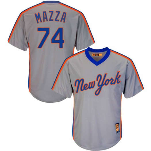Men's Majestic Chris Mazza New York Mets Replica Gray Cool Base Cooperstown Collection Jersey
