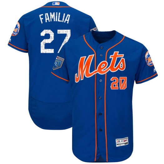 Youth Majestic Jeurys Familia New York Mets Authentic Royal Flex Base 2018 Spring Training Jersey
