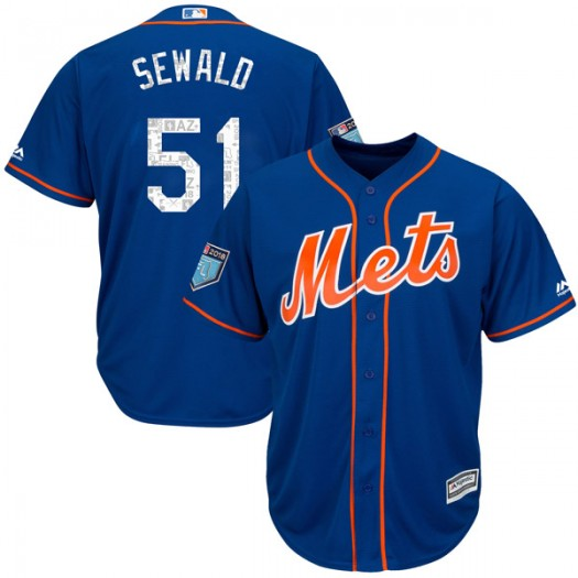 Youth Majestic Paul Sewald New York Mets Authentic Royal Cool Base 2018 Spring Training Jersey