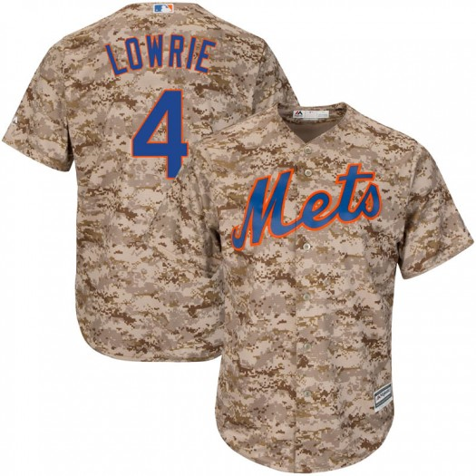 Youth Majestic Jed Lowrie New York Mets Replica Camo Cool Base Alternate Jersey