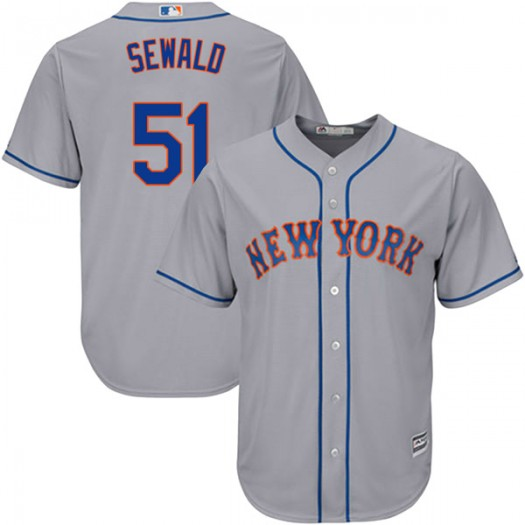 Youth Majestic Paul Sewald New York Mets Replica Gray Cool Base Road Jersey