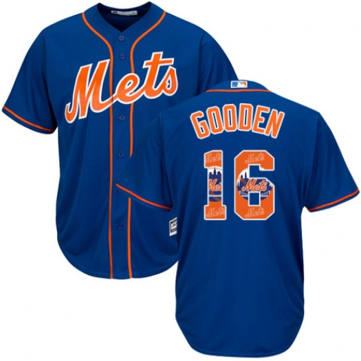 Men's Majestic Dwight Gooden New York Mets Authentic Royal Blue Team Logo Fashion Cool Base Jersey